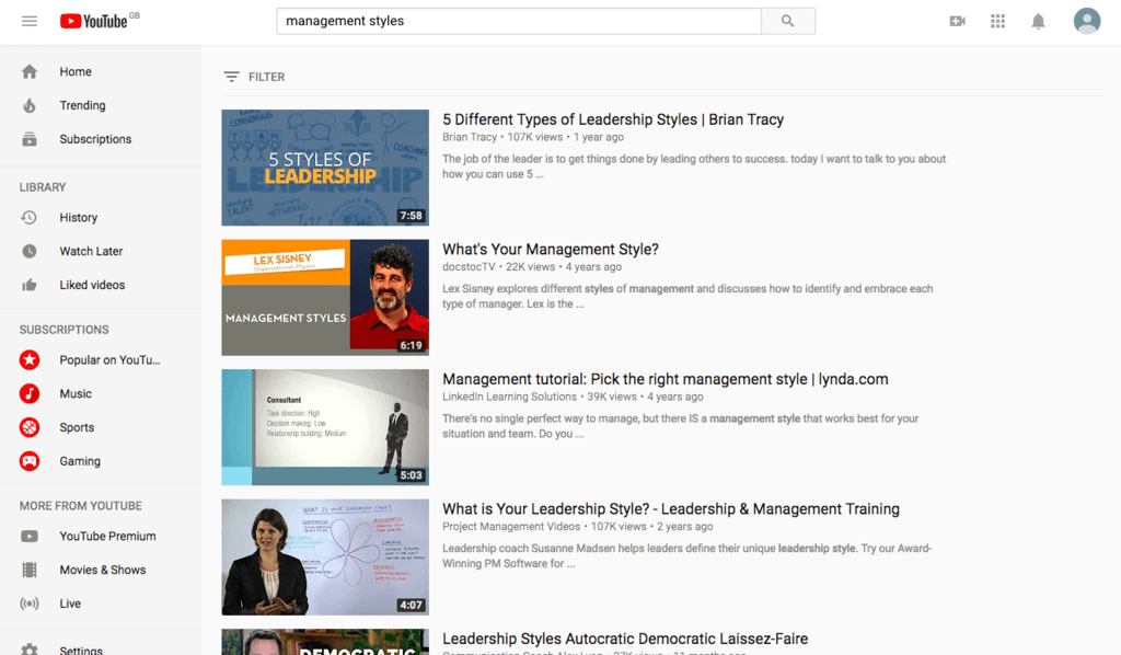 management-styles-youtube-search