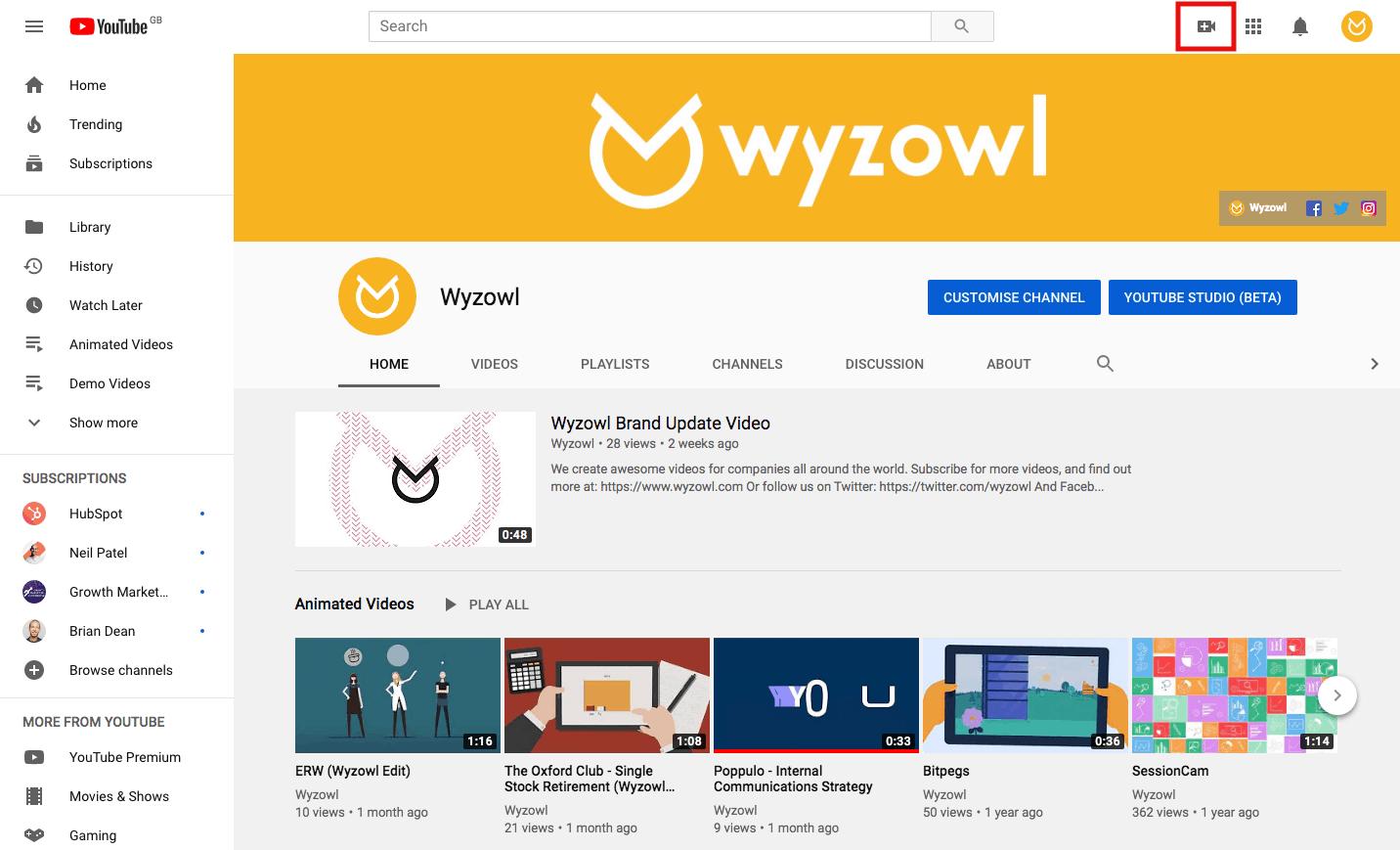 Wyzowl YouTube page